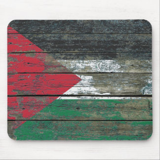 Palestinian Flag on Rough Wood Boards Effect Mouse Pad