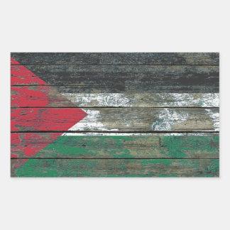 Palestinian Flag on Rough Wood Boards Effect Rectangular Sticker