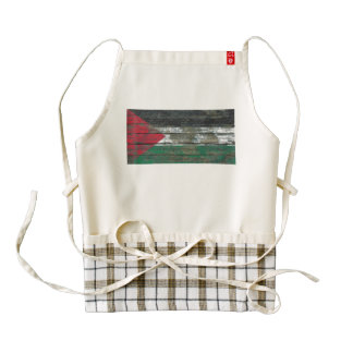 Palestinian Flag on Rough Wood Boards Effect Zazzle HEART Apron