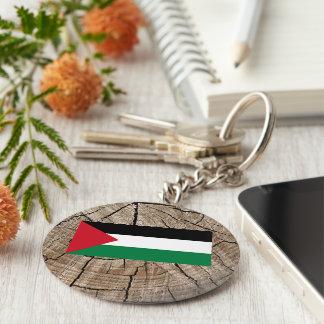 Palestinian flag on tree bark basic round button keychain