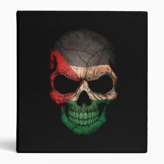 Palestinian Flag Skull on Black 3 Ring Binder