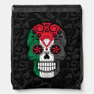 Palestinian Flag Sugar Skull with Roses Cinch Bags