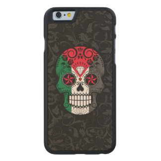Palestinian Flag Sugar Skull with Roses Carved® Maple iPhone 6 Slim Case