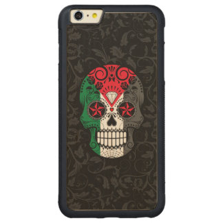Palestinian Flag Sugar Skull with Roses Carved® Maple iPhone 6 Plus Bumper Case