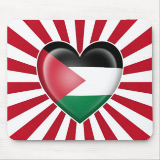 Palestinian Heart Flag with Sun Rays Mouse Pad