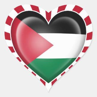 Palestinian Heart Flag with Sun Rays Heart Sticker