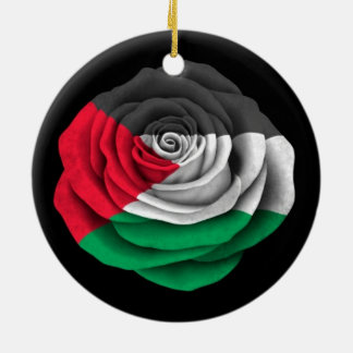 Palestinian Rose Flag on Black Ceramic Ornament