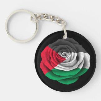 Palestinian Rose Flag on Black Double-Sided Round Acrylic Keychain