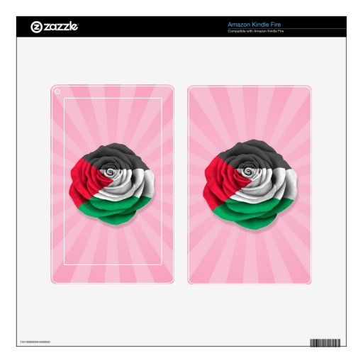 Palestinian Rose Flag on Pink Kindle Fire Decals