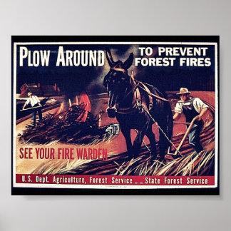 Paleta alrededor para prevenir los incendios fores posters