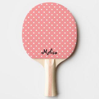Paleta coralina del ping-pong de los lunares para pala de tenis de mesa