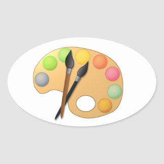 Paleta de colores del arte con dos cepillos pegatina ovalada