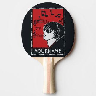 Paleta de encargo del ping-pong de la música del pala de tenis de mesa