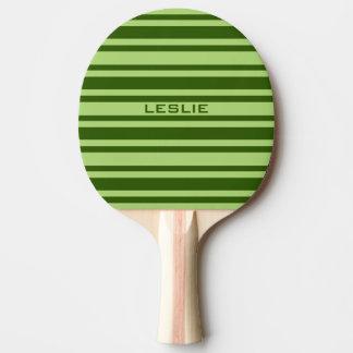 Paleta de encargo del ping-pong de las rayas verde pala de tenis de mesa