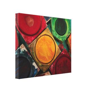Paleta de la caja de la pintura de la acuarela de impresión en lienzo