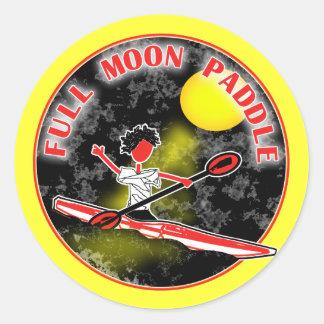 Paleta de la Luna Llena del kajak Etiquetas Redondas