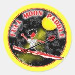 Paleta de la Luna Llena del kajak Pegatina Redonda