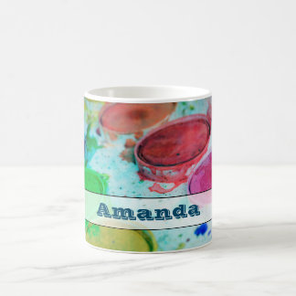 Paleta de la pintura de la acuarela de los taza