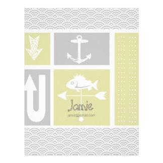 Paleta de tiempo amarilla y gris náutica de los pe membretes personalizados