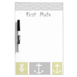 Paleta de tiempo amarilla y gris náutica de los pe tablero blanco