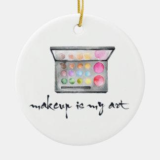 """Paleta del artista de maquillaje - el """"maquillaje adorno navideño redondo de cerámica"""