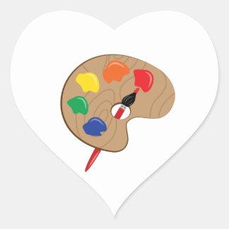 Paleta del artista colcomanias de corazon