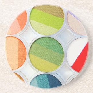 Paleta del maquillaje del arco iris - impresión de apoyavasos