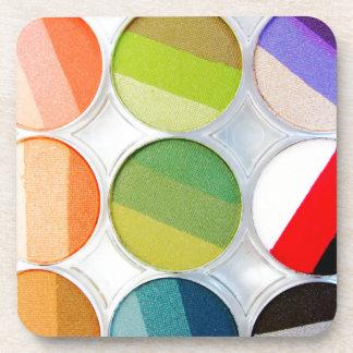 Paleta del maquillaje del arco iris - impresión de posavasos para bebidas