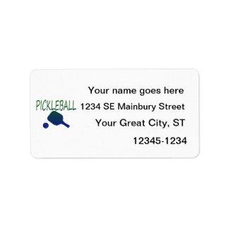 paleta del pickleball w y azul de la bola a etiqueta de dirección