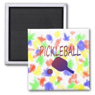 paleta del pickleball w y naranja de la bola a la imán de nevera