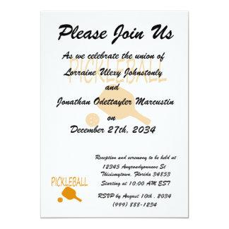 """paleta del pickleball w y naranja de la bola invitación 5"""" x 7"""""""
