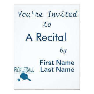 """paleta del pickleball w y trullo de la bola invitación 4.25"""" x 5.5"""""""