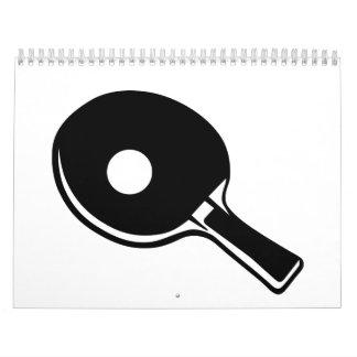 Paleta del ping-pong calendarios