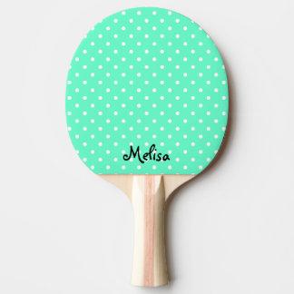 Paleta del ping-pong de los lunares de la menta pala de tenis de mesa