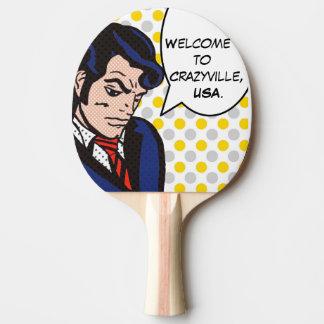 Paleta del ping-pong del arte pop del hombre del pala de tenis de mesa