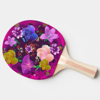 Paleta floral abstracta rosada vibrante del pala de tenis de mesa