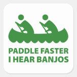 Paleta más rápidamente oigo los banjos calcomania cuadradas personalizadas