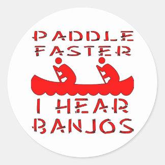Paleta más rápidamente oigo los banjos pegatina redonda