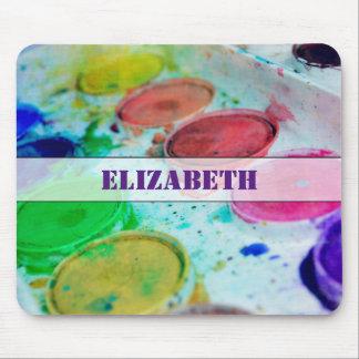 Paleta multicolora de la pintura de la acuarela de tapetes de raton