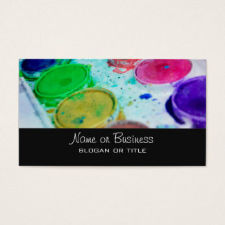 Paleta multicolora de la pintura de la acuarela de tarjetas de visita