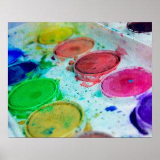 Paleta multicolora de la pintura de la acuarela póster