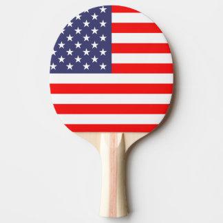 Paleta patriótica del ping-pong con la bandera ame pala de tenis de mesa
