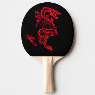 Paleta roja del ping-pong del dragón pala de ping pong