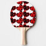 Paleta roja y negra del ping-pong de los corazones pala de tenis de mesa