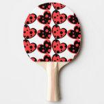Paleta roja y negra del ping-pong de los corazones pala de ping pong
