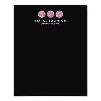 Paleta rosada del brillo para el artista de maquil tarjetas informativas