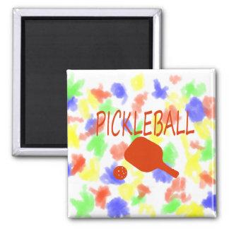paleta y bola del pickleball w anaranjado oscuro iman de nevera