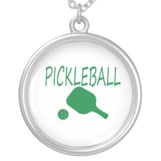 paleta y bola del pickleball w verdes claras colgante redondo