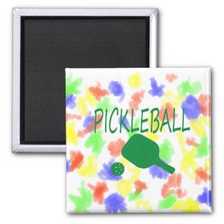 paleta y bola del pickleball w verdes claras imanes de nevera
