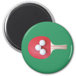 Paleta y bolas del ping-pong imán redondo 5 cm